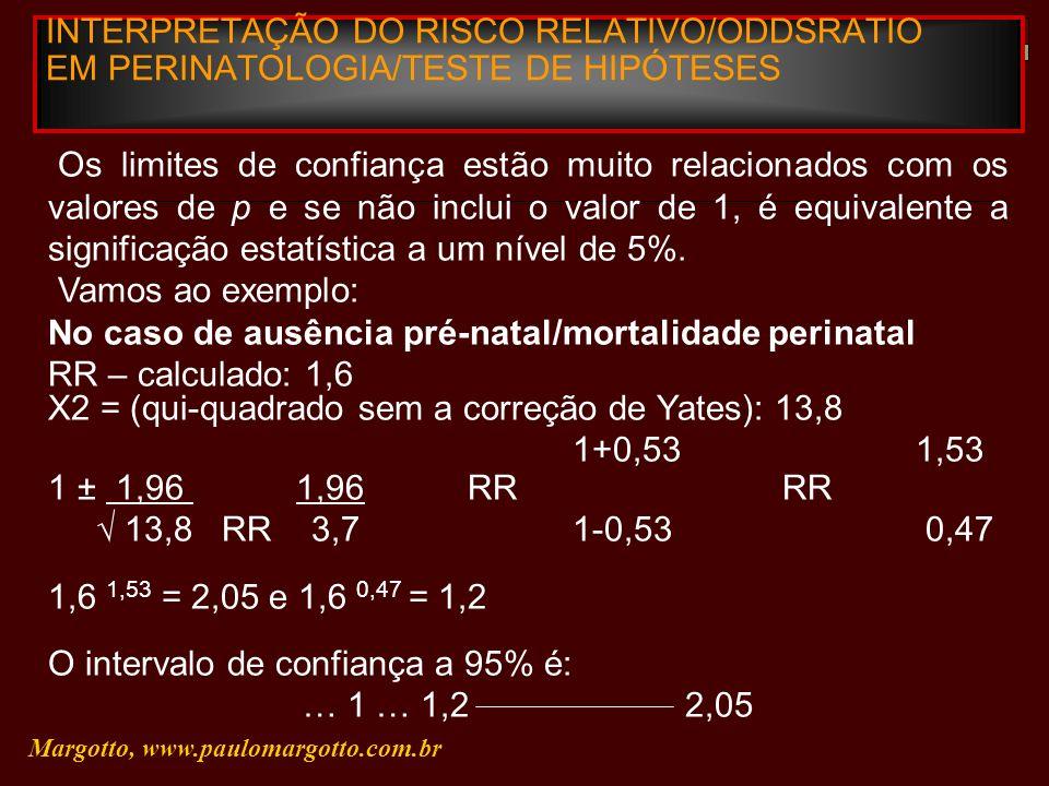 INTERPRETAÇÃO DO RISCO RELATIVO/ODDSRATIO EM PERINATOLOGIA/TESTE DE HIPÓTESES Margotto, www.paulomargotto.com.br Os limites de confiança estão muito r