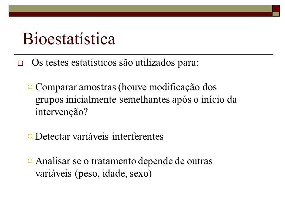 Bioestatística Os testes estatísticos são utilizados para: ¤ Comparar amostras (houve modificação dos grupos inicialmente semelhantes após o início da