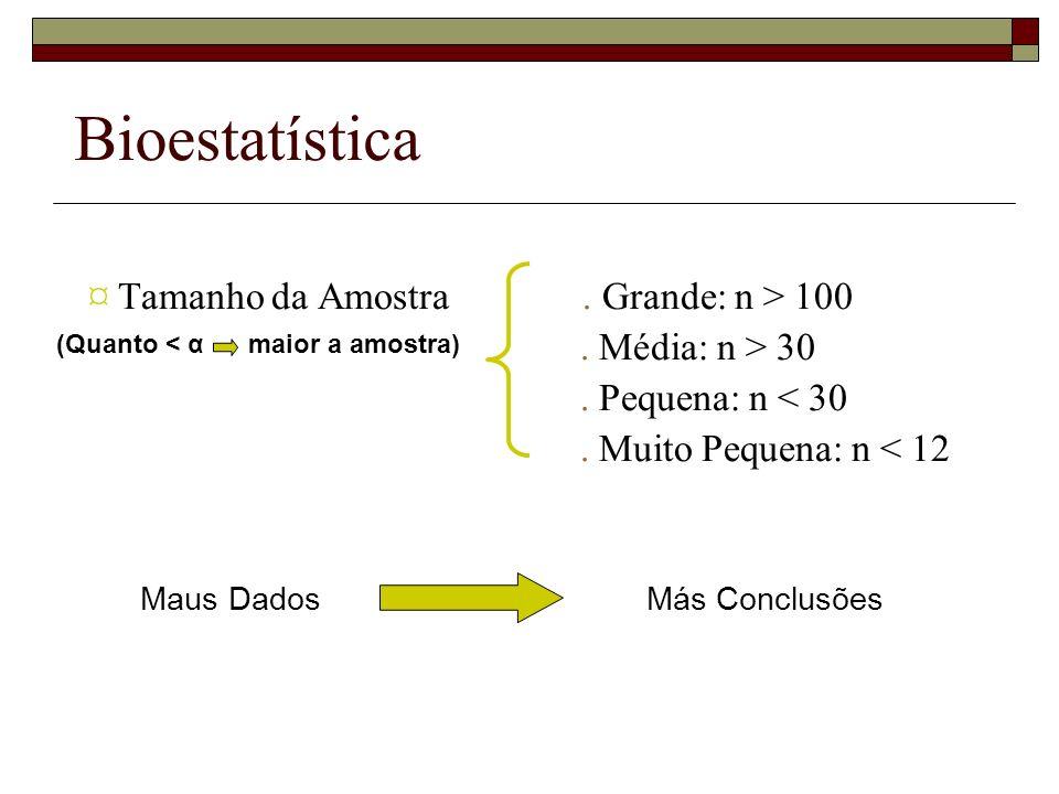 Bioestatística ¤ Tamanho da Amostra. Grande: n > 100. Média: n > 30. Pequena: n < 30. Muito Pequena: n < 12 (Quanto < α maior a amostra) Maus Dados Má