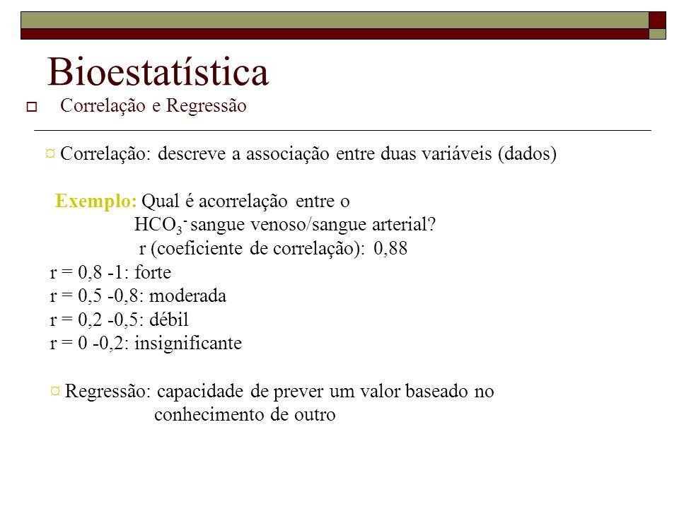Bioestatística Correlação e Regressão ¤ Correlação: descreve a associação entre duas variáveis (dados) Exemplo: Qual é acorrelação entre o HCO 3 - san