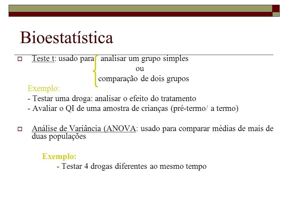 Bioestatística Teste t: usado para analisar um grupo simples ou comparação de dois grupos Exemplo: - Testar uma droga: analisar o efeito do tratamento