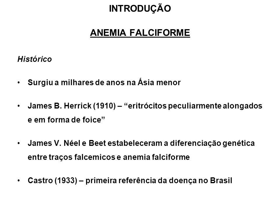 INTRODUÇÃO ANEMIA FALCIFORME Histórico Surgiu a milhares de anos na Ásia menor James B. Herrick (1910) – eritrócitos peculiarmente alongados e em form