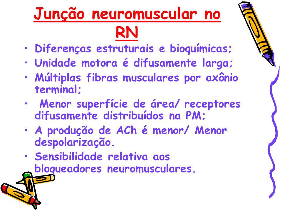Junção neuromuscular no RN Diferenças estruturais e bioquímicas; Unidade motora é difusamente larga; Múltiplas fibras musculares por axônio terminal;