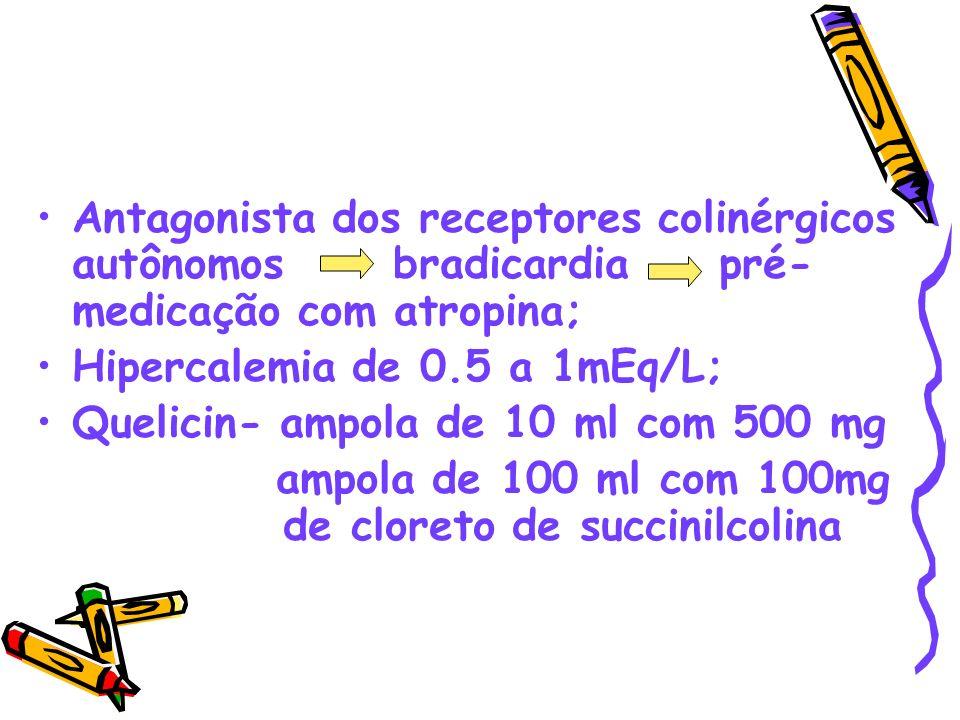 Antagonista dos receptores colinérgicos autônomos bradicardia pré- medicação com atropina; Hipercalemia de 0.5 a 1mEq/L; Quelicin- ampola de 10 ml com