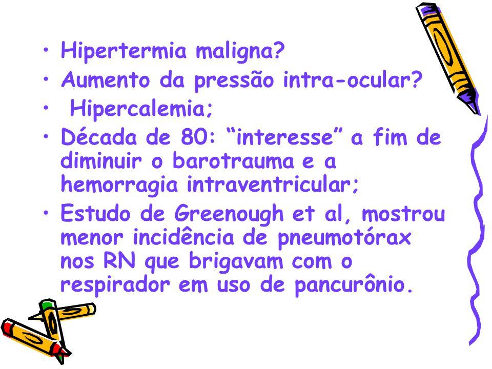 Hipertermia maligna? Aumento da pressão intra-ocular? Hipercalemia; Década de 80: interesse a fim de diminuir o barotrauma e a hemorragia intraventric
