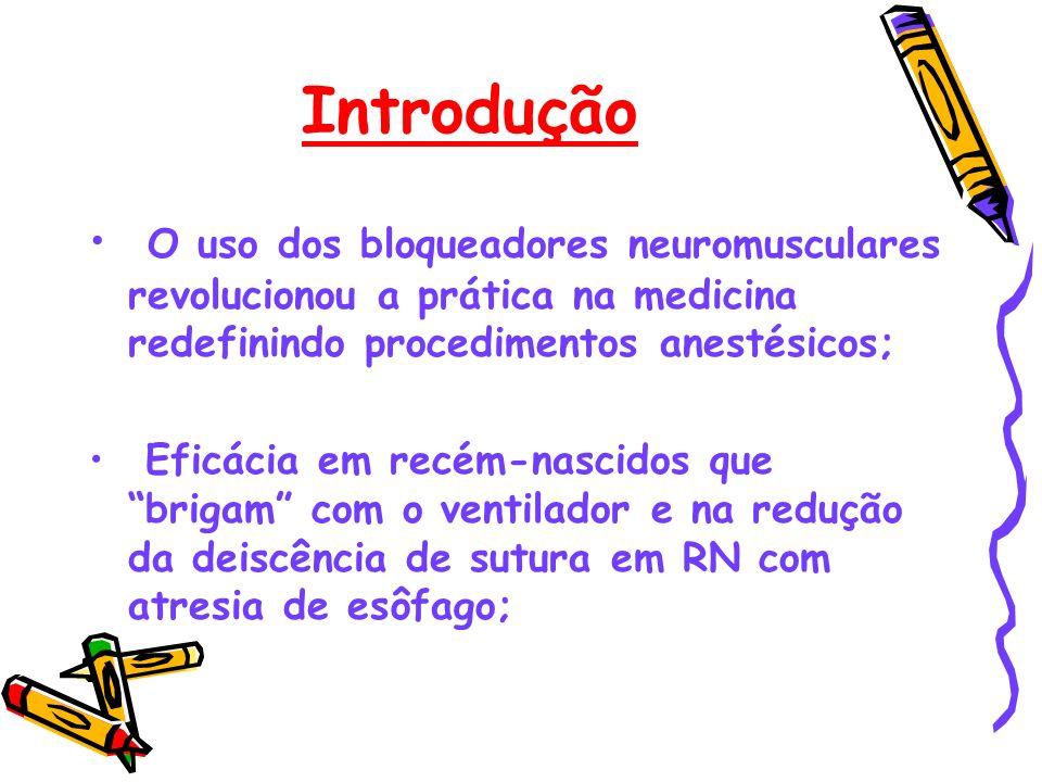 Introdução O uso dos bloqueadores neuromusculares revolucionou a prática na medicina redefinindo procedimentos anestésicos; Eficácia em recém-nascidos