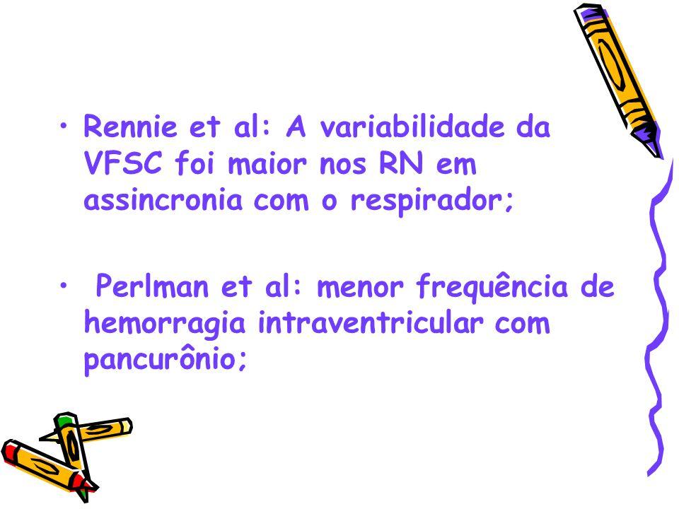 Rennie et al: A variabilidade da VFSC foi maior nos RN em assincronia com o respirador; Perlman et al: menor frequência de hemorragia intraventricular