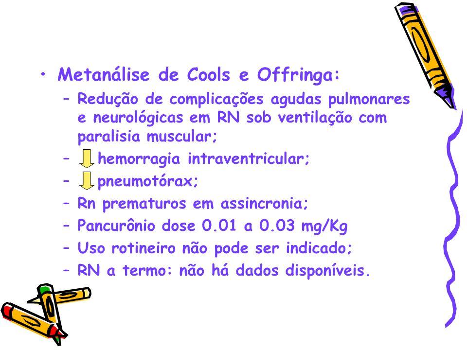 Metanálise de Cools e Offringa: –Redução de complicações agudas pulmonares e neurológicas em RN sob ventilação com paralisia muscular; – hemorragia in