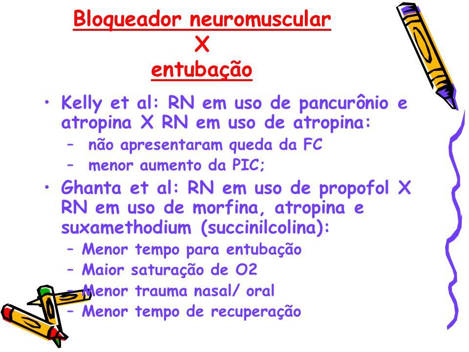 Bloqueador neuromuscular X entubação Kelly et al: RN em uso de pancurônio e atropina X RN em uso de atropina: – não apresentaram queda da FC – menor a