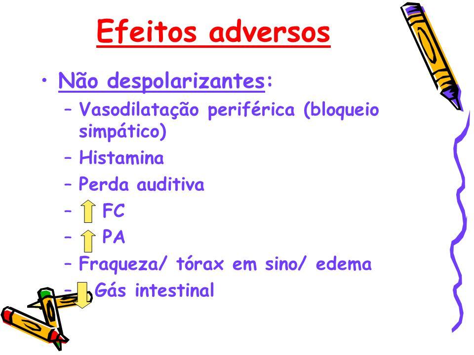Efeitos adversos Não despolarizantes: –Vasodilatação periférica (bloqueio simpático) –Histamina –Perda auditiva – FC – PA –Fraqueza/ tórax em sino/ ed
