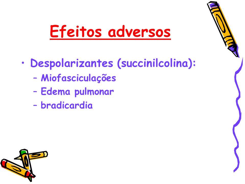 Efeitos adversos Despolarizantes (succinilcolina): –Miofasciculações –Edema pulmonar –bradicardia