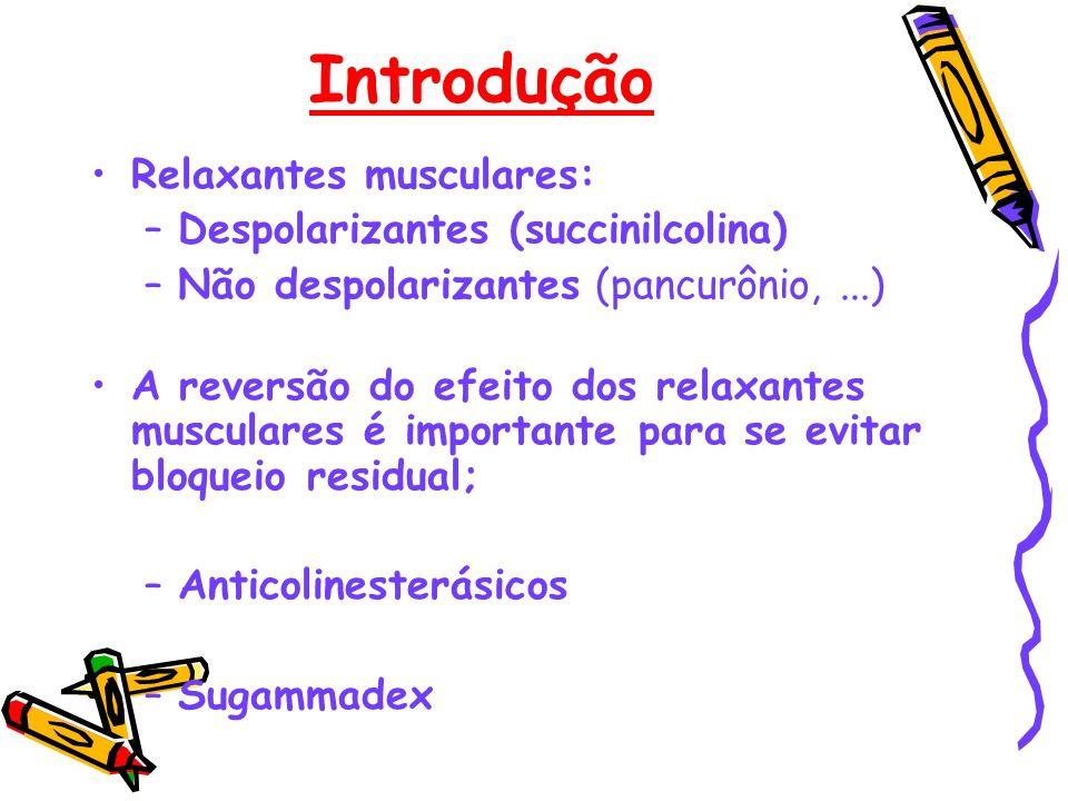 Introdução Relaxantes musculares: –Despolarizantes (succinilcolina) –Não despolarizantes (pancurônio,...) A reversão do efeito dos relaxantes muscular