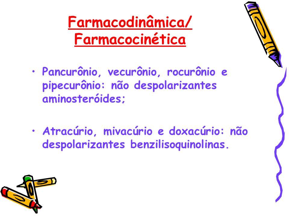 Farmacodinâmica/ Farmacocinética Pancurônio, vecurônio, rocurônio e pipecurônio: não despolarizantes aminosteróides; Atracúrio, mivacúrio e doxacúrio: