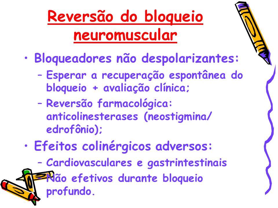 Reversão do bloqueio neuromuscular Bloqueadores não despolarizantes: –Esperar a recuperação espontânea do bloqueio + avaliação clínica; –Reversão farm