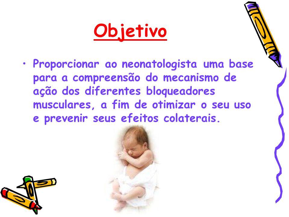 Objetivo Proporcionar ao neonatologista uma base para a compreensão do mecanismo de ação dos diferentes bloqueadores musculares, a fim de otimizar o s