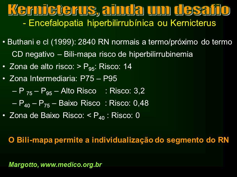 - Encefalopatia hiperbilirrubínica ou Kernicterus Buthani e cl (1999): 2840 RN normais a termo/próximo do termo CD negativo – Bili-mapa risco de hiper