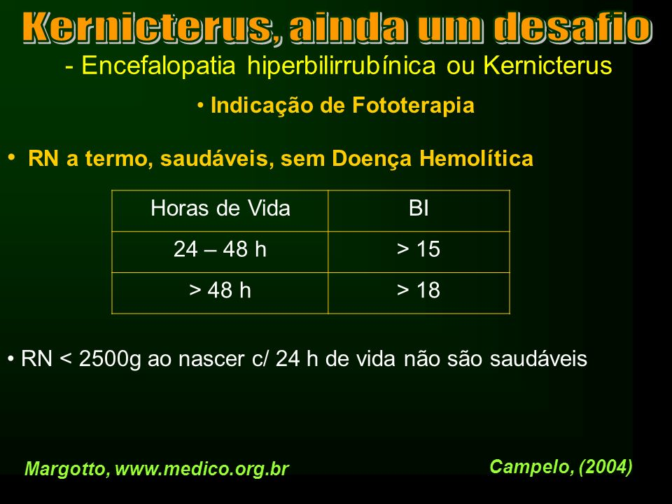 - Encefalopatia hiperbilirrubínica ou Kernicterus Indicação de Fototerapia RN a termo, saudáveis, sem Doença Hemolítica RN < 2500g ao nascer c/ 24 h d