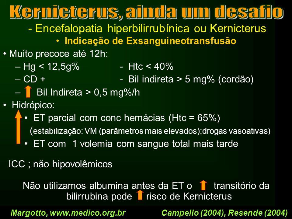 - Encefalopatia hiperbilirrubínica ou Kernicterus Indicação de Exsanguineotransfusão Muito precoce até 12h: – Hg < 12,5g%- Htc < 40% – CD +- Bil indir