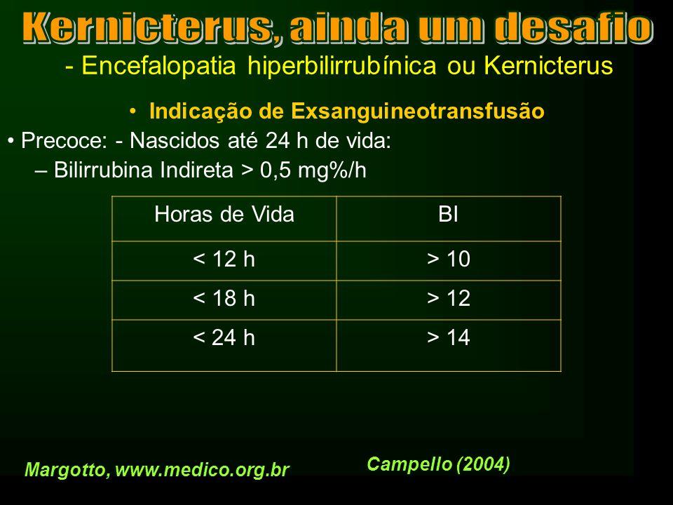 - Encefalopatia hiperbilirrubínica ou Kernicterus Indicação de Exsanguineotransfusão Precoce: - Nascidos até 24 h de vida: – Bilirrubina Indireta > 0,