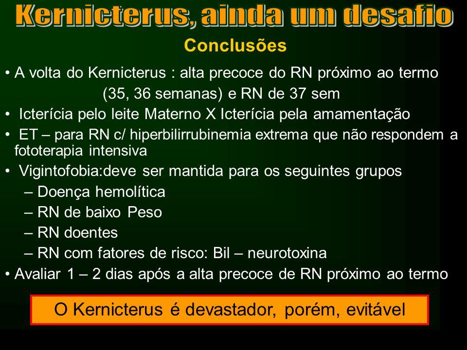 Conclusões A volta do Kernicterus : alta precoce do RN próximo ao termo (35, 36 semanas) e RN de 37 sem Icterícia pelo leite Materno X Icterícia pela