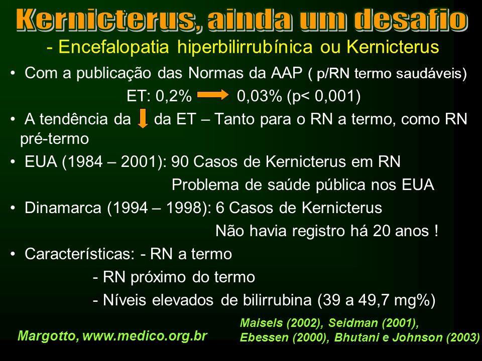 - Encefalopatia hiperbilirrubínica ou Kernicterus Causas da volta do Kernicterus –Ocorre mais icterícia severa hoje do que nos anos 60 e 70 –1960: 0,8% - BT > 20 mg% –1999: 2% - BT > 20 mg% –Percentil 95% para BT RN normais > 72 – 96 h: 15 e 17,5 mg% –Amamentação ao seio: 3 a 6 X p/ icterícia moderada a severa 1/3 destes RN – hiperbilirrubinemia entre 6º - 14 º dia (12 a 20 mg%) Icterícia pela amamentação (inadequada amamentação) Icterícia pelo leite humano (prolongamento da icterícia fisiológica) Margotto, www.medico.org.br Maisels (2002), Osborn (1984), Schineider (1986), Gartner (2001)
