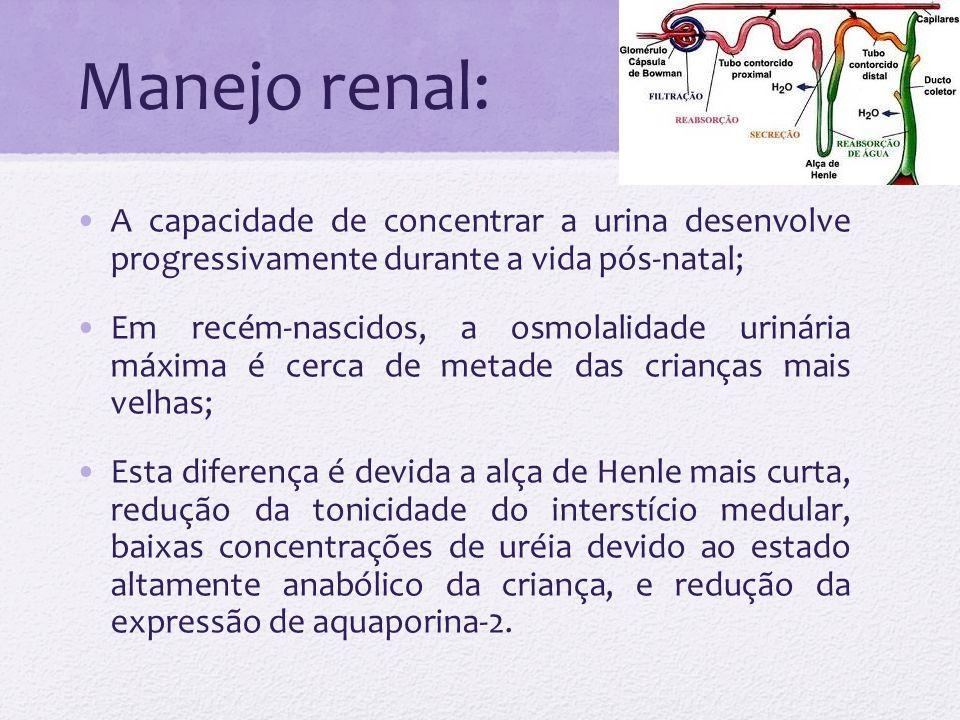 Manejo renal: A capacidade de concentrar a urina desenvolve progressivamente durante a vida pós-natal; Em recém-nascidos, a osmolalidade urinária máxi