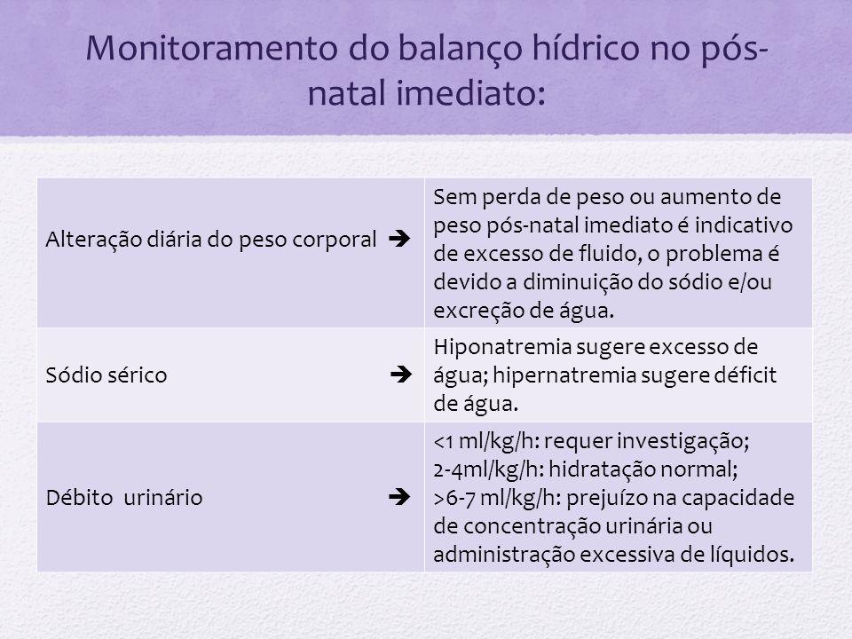 Monitoramento do balanço hídrico no pós- natal imediato: Alteração diária do peso corporal Sem perda de peso ou aumento de peso pós-natal imediato é i