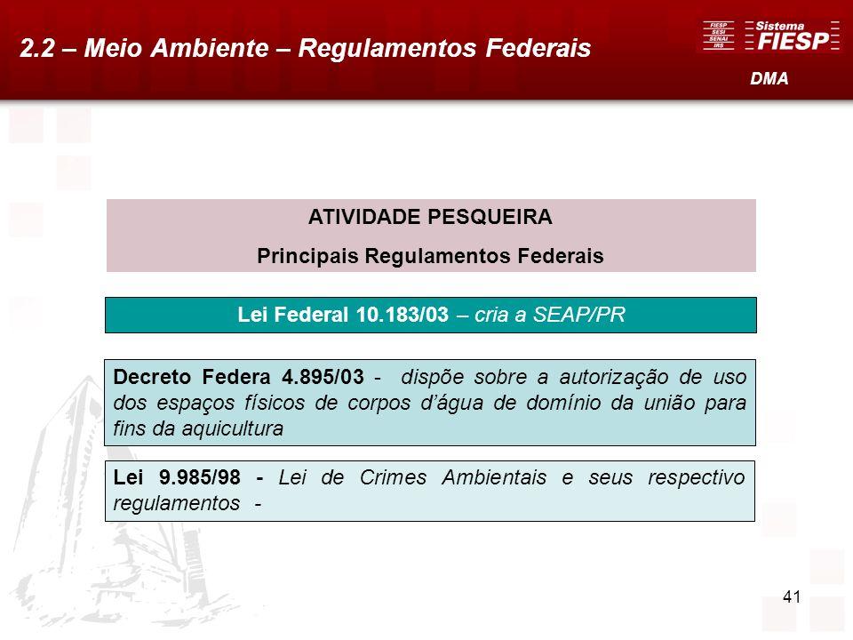 41 ATIVIDADE PESQUEIRA Principais Regulamentos Federais Lei Federal 10.183/03 – cria a SEAP/PR Decreto Federa 4.895/03 - dispõe sobre a autorização de