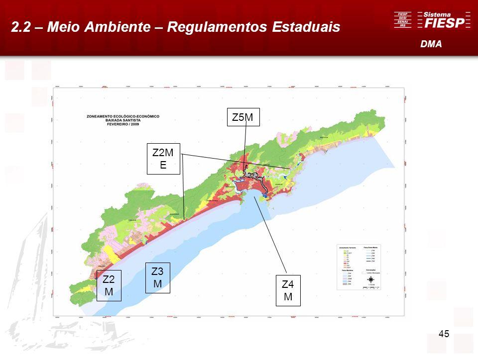 45 Z2 M Z3 M Z2M E Z5M Z4 M DMA 2.2 – Meio Ambiente – Regulamentos Estaduais
