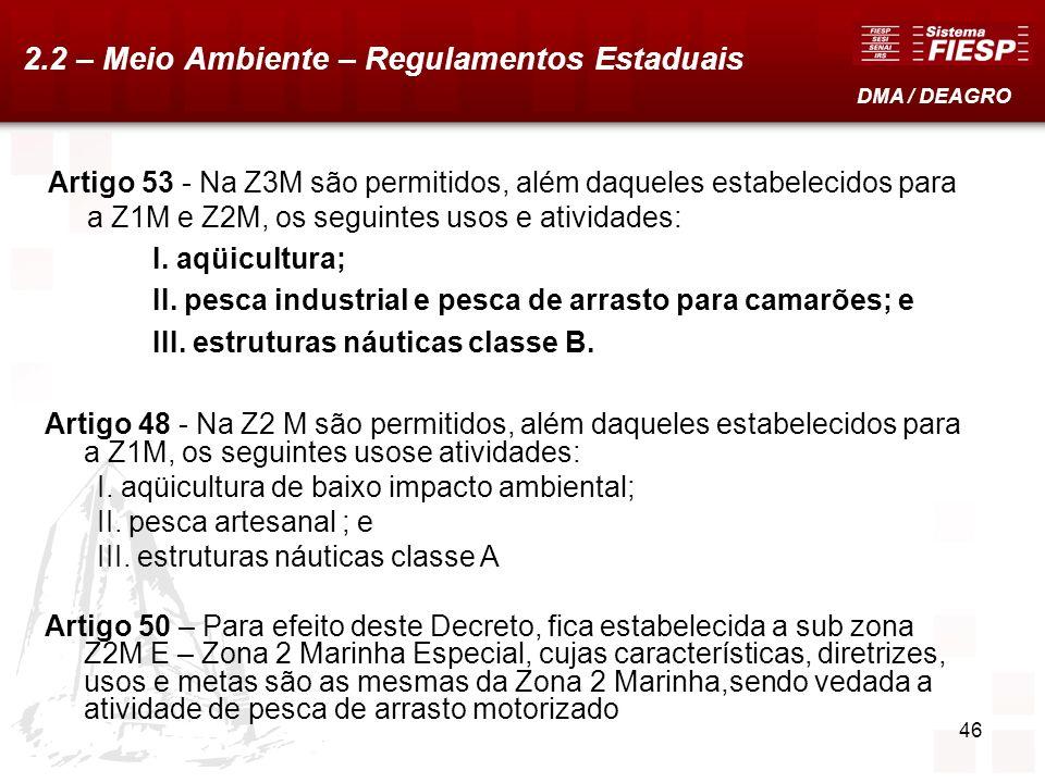 46 Artigo 53 - Na Z3M são permitidos, além daqueles estabelecidos para a Z1M e Z2M, os seguintes usos e atividades: I. aqüicultura; II. pesca industri
