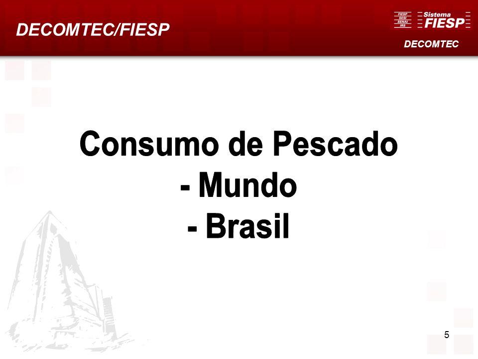 16 Exportações Mundiais de Peixes A participação do Brasil (0,5%, em US$) e o crescimento (48,1%, 2000-06) são inferiores as médias mundiais.