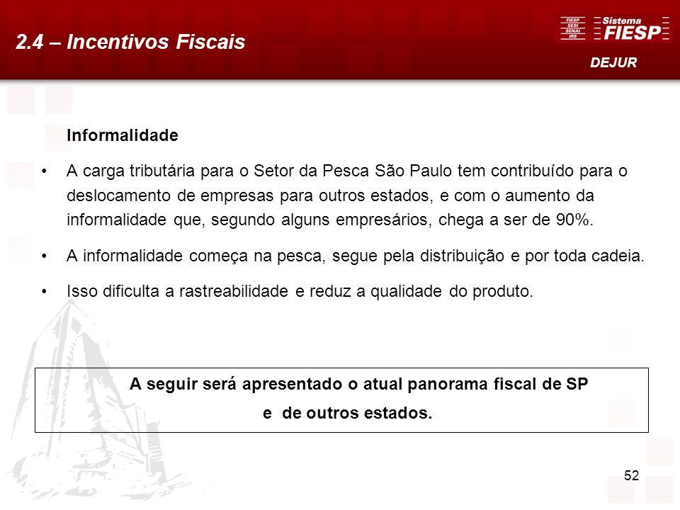 52 Informalidade A carga tributária para o Setor da Pesca São Paulo tem contribuído para o deslocamento de empresas para outros estados, e com o aumen