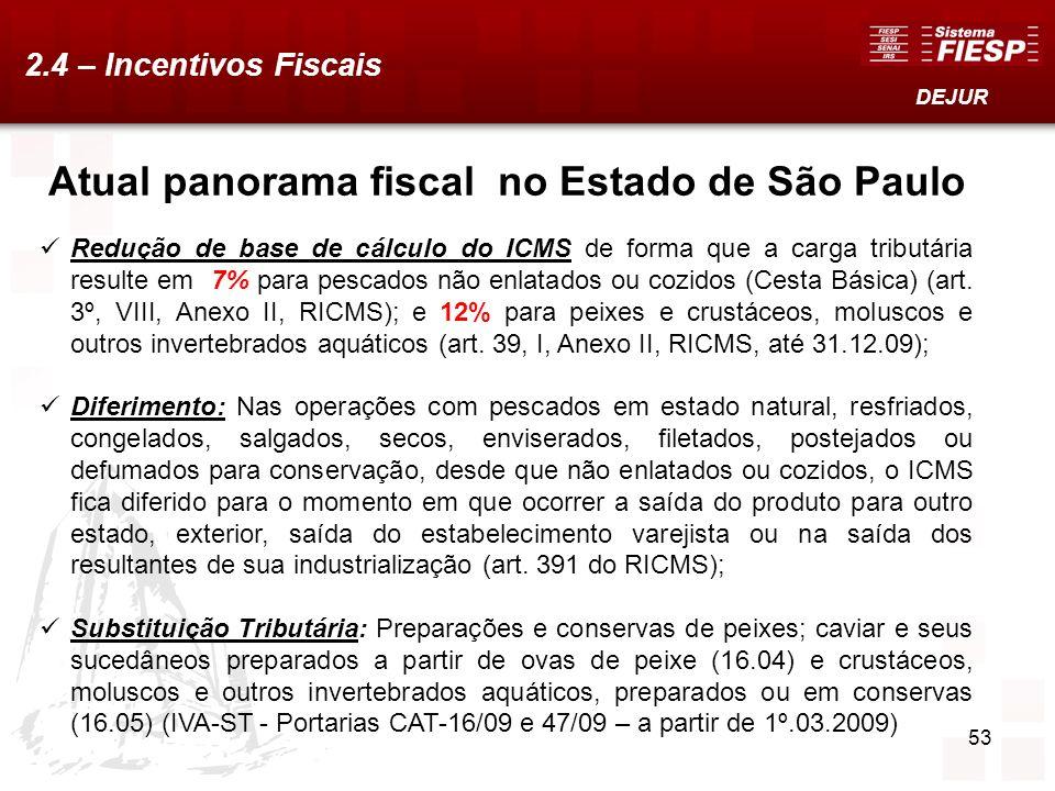 53 Atual panorama fiscal no Estado de São Paulo Redução de base de cálculo do ICMS de forma que a carga tributária resulte em 7% para pescados não enl