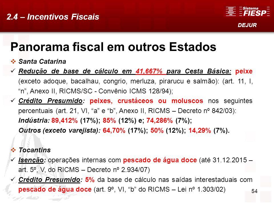54 Panorama fiscal em outros Estados Santa Catarina Redução de base de cálculo em 41,667% para Cesta Básica: peixe (exceto adoque, bacalhau, congrio,