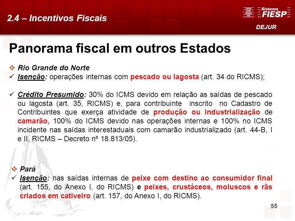 55 Rio Grande do Norte Isenção: operações internas com pescado ou lagosta (art. 34 do RICMS); Crédito Presumido: 30% do ICMS devido em relação as saíd