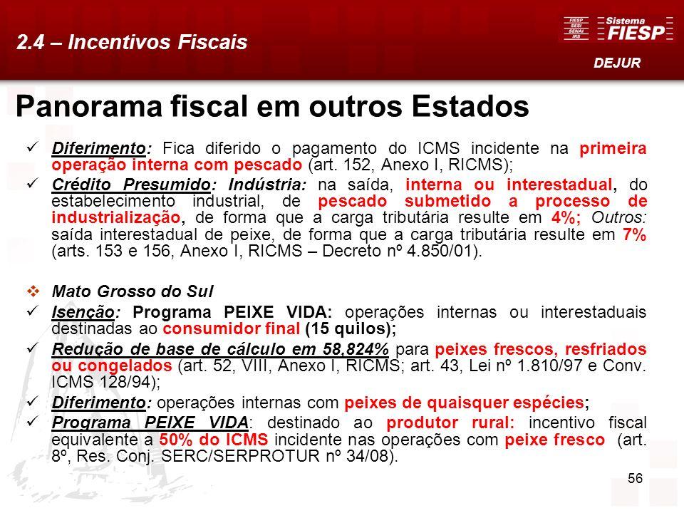 56 Panorama fiscal em outros Estados Diferimento: Fica diferido o pagamento do ICMS incidente na primeira operação interna com pescado (art. 152, Anex