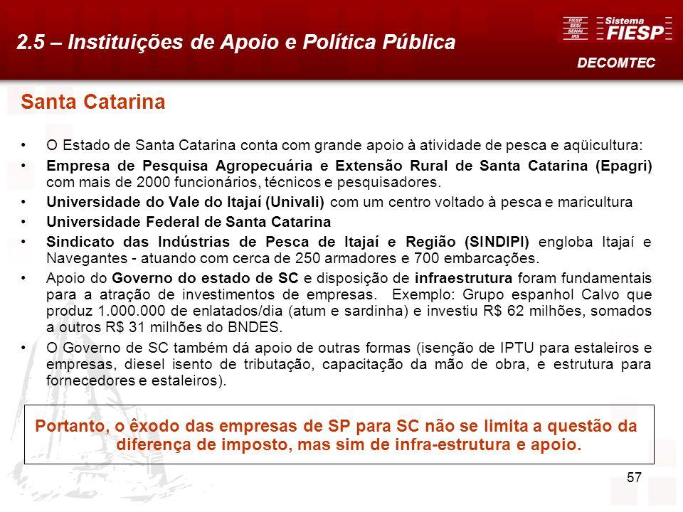 57 Santa Catarina O Estado de Santa Catarina conta com grande apoio à atividade de pesca e aqüicultura: Empresa de Pesquisa Agropecuária e Extensão Ru