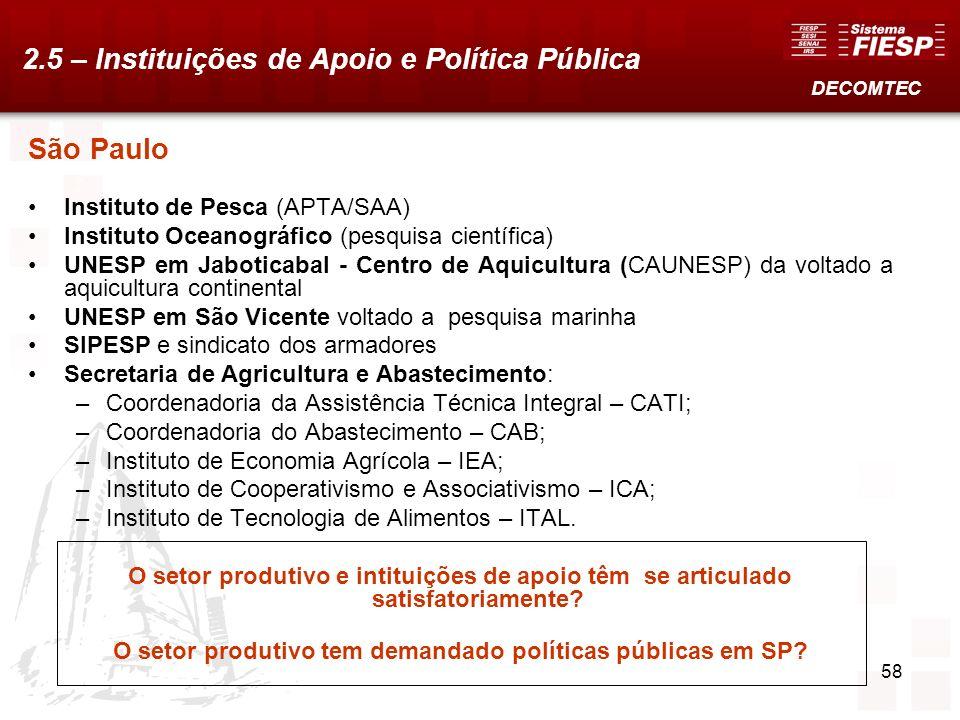 58 São Paulo Instituto de Pesca (APTA/SAA) Instituto Oceanográfico (pesquisa científica) UNESP em Jaboticabal - Centro de Aquicultura (CAUNESP) da vol