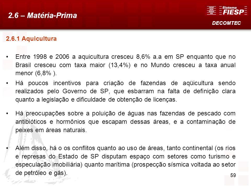 59 2.6.1 Aquicultura Entre 1998 e 2006 a aquicultura cresceu 8,6% a.a em SP enquanto que no Brasil cresceu com taxa maior (13,4%) e no Mundo cresceu a