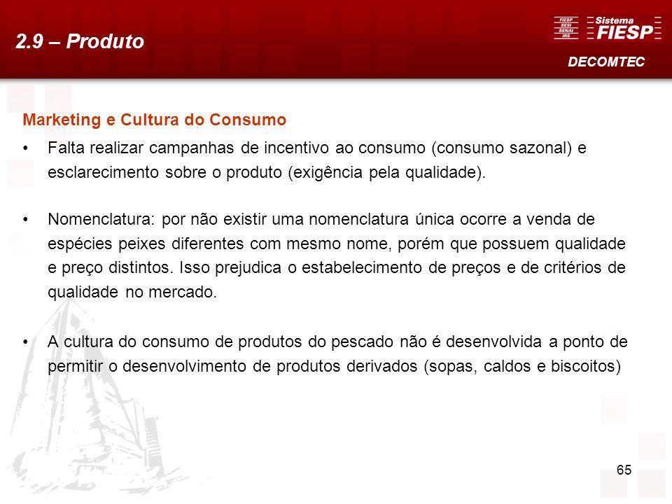 65 Marketing e Cultura do Consumo Falta realizar campanhas de incentivo ao consumo (consumo sazonal) e esclarecimento sobre o produto (exigência pela