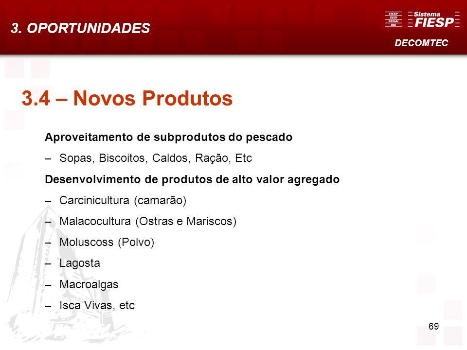 69 3.4 – Novos Produtos Aproveitamento de subprodutos do pescado –Sopas, Biscoitos, Caldos, Ração, Etc Desenvolvimento de produtos de alto valor agreg