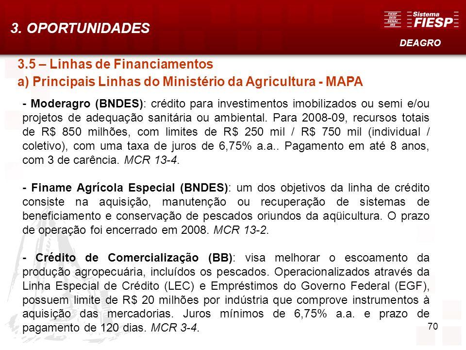 70 3.5 – Linhas de Financiamentos a) Principais Linhas do Ministério da Agricultura - MAPA - Moderagro (BNDES): crédito para investimentos imobilizado