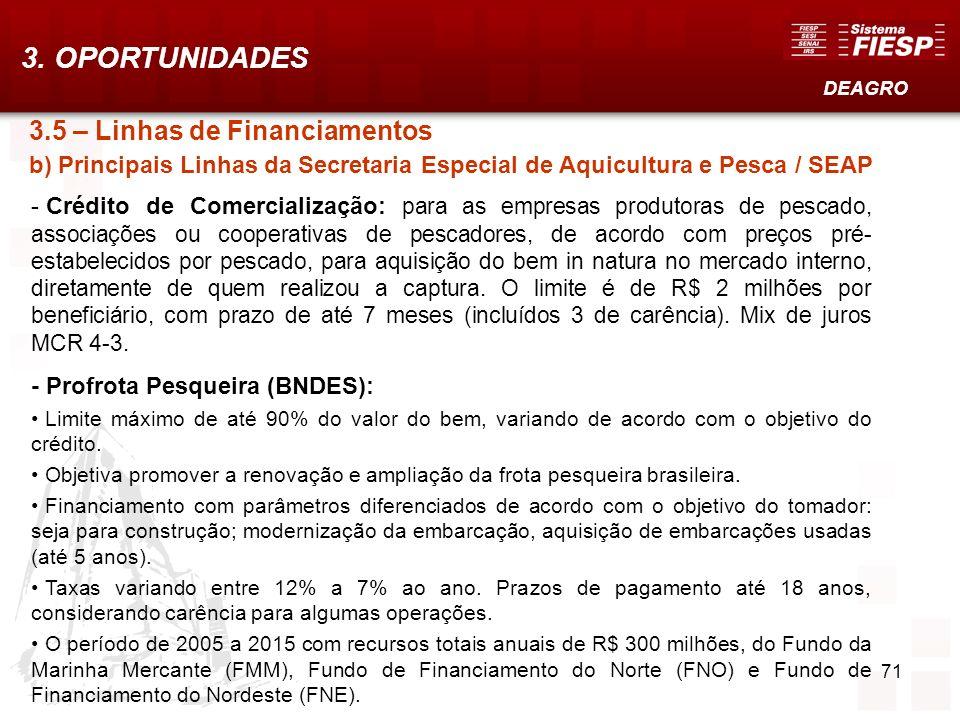 71 3.5 – Linhas de Financiamentos b) Principais Linhas da Secretaria Especial de Aquicultura e Pesca / SEAP - Crédito de Comercialização: para as empr