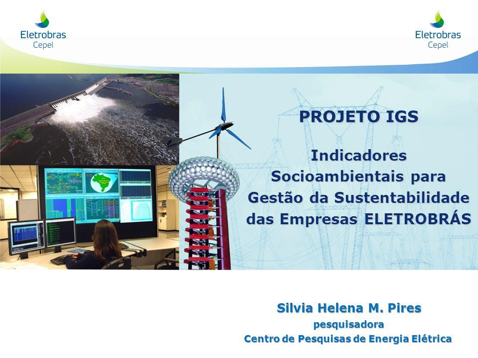 PROJETO IGS Indicadores Socioambientais para Gestão da Sustentabilidade das Empresas ELETROBRÁS Silvia Helena M. Pires pesquisadora Centro de Pesquisa