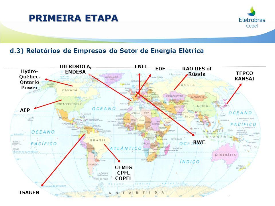 d.3) Relatórios de Empresas do Setor de Energia Elétrica PRIMEIRA ETAPA Hydro- Québec, Ontario Power ISAGEN EDF IBERDROLA, ENDESA AEP TEPCO KANSAI RAO