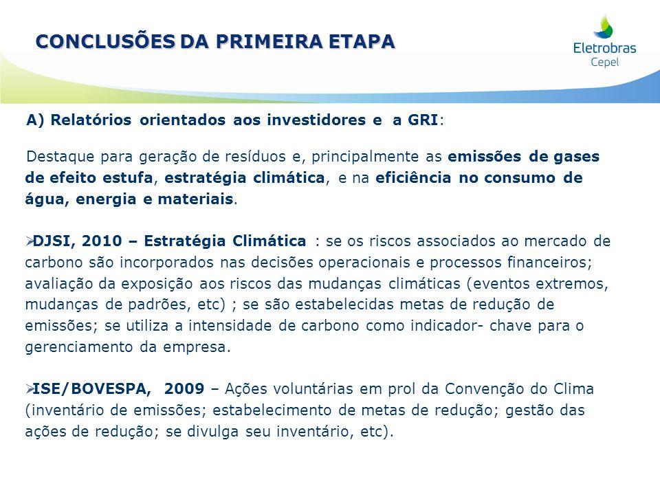 A) Relatórios orientados aos investidores e a GRI: Destaque para geração de resíduos e, principalmente as emissões de gases de efeito estufa, estratég