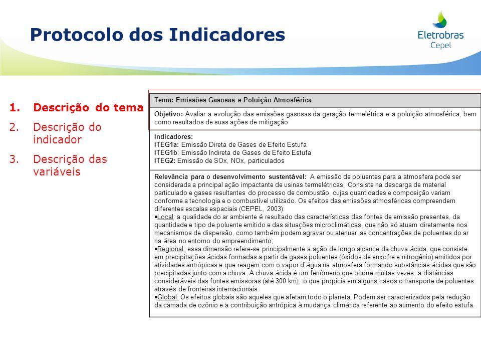 1. 1.Descrição do tema 2. 2.Descrição do indicador 3. 3.Descrição das variáveis Protocolo dos Indicadores Tema: Emissões Gasosas e Polui ç ão Atmosf é