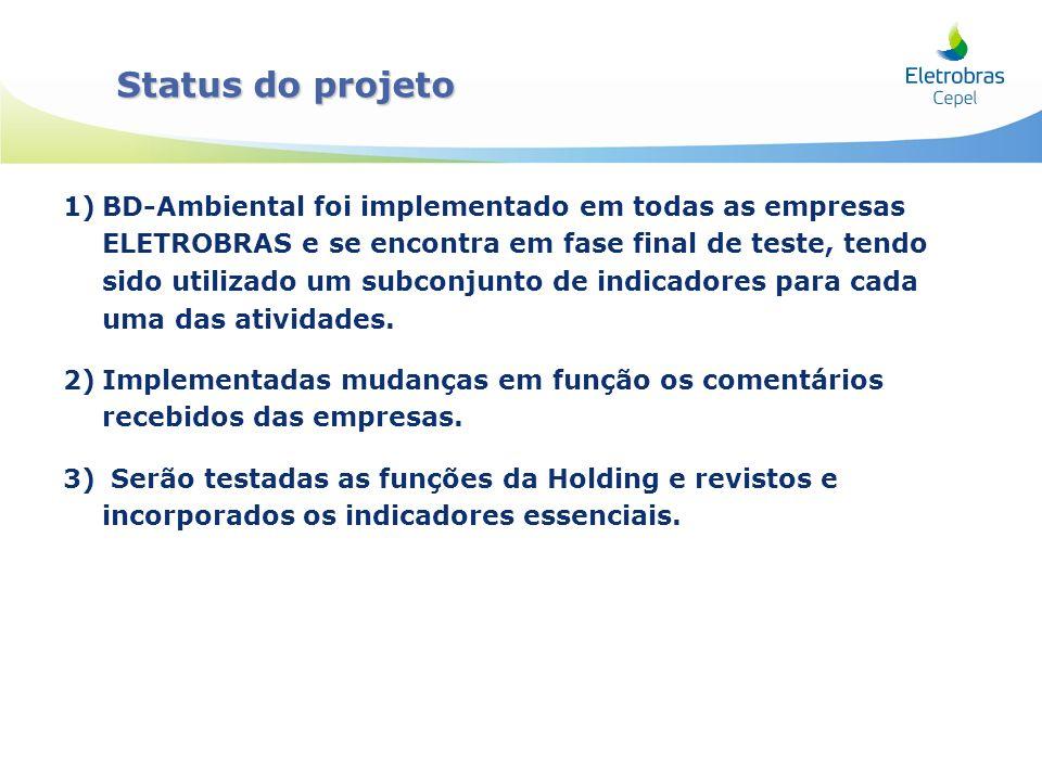 1)BD-Ambiental foi implementado em todas as empresas ELETROBRAS e se encontra em fase final de teste, tendo sido utilizado um subconjunto de indicador