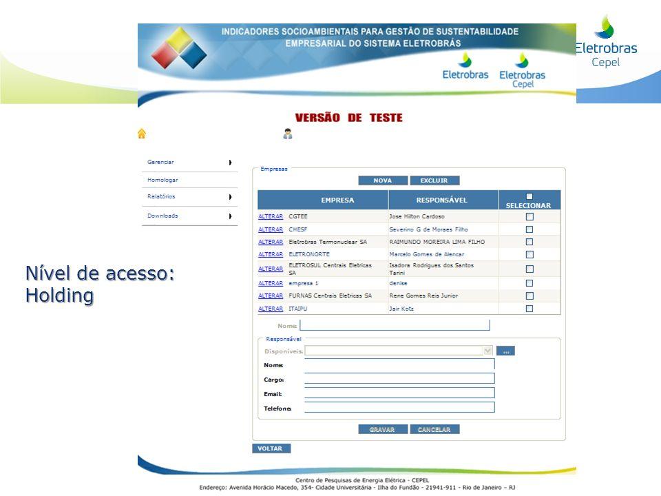 Nível de acesso: Holding