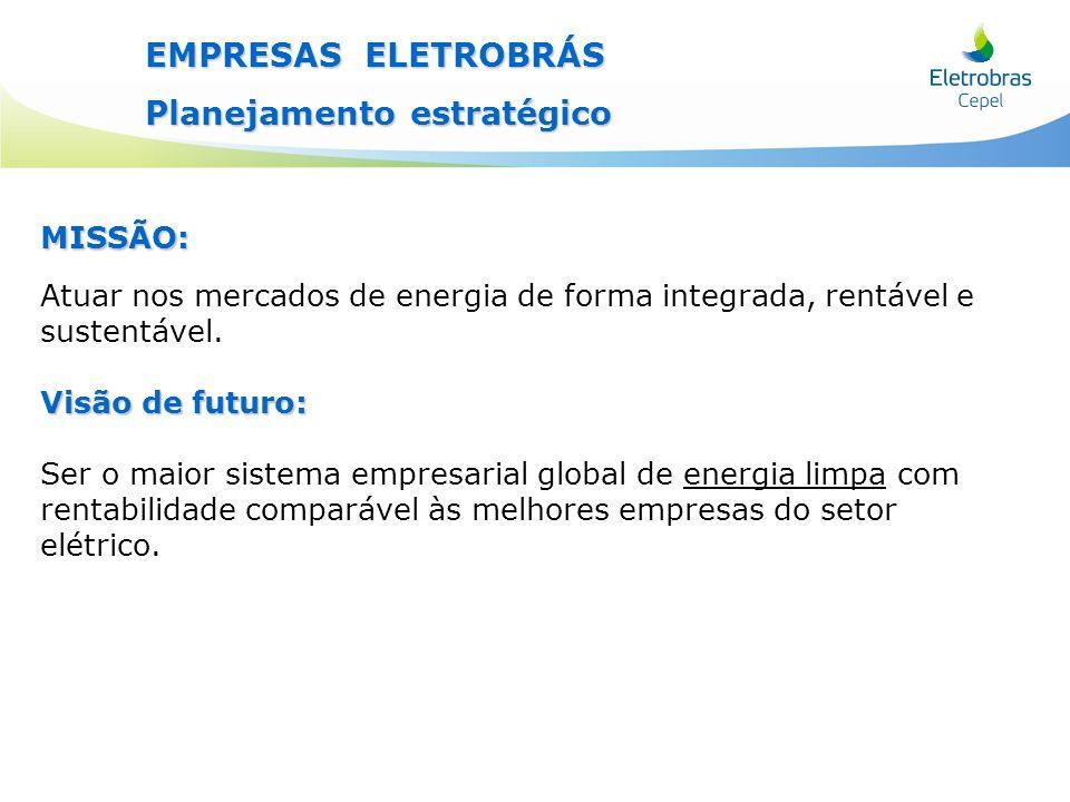 EMPRESAS ELETROBRÁS Planejamento estratégico MISSÃO: Atuar nos mercados de energia de forma integrada, rentável e sustentável. Visão de futuro: Ser o